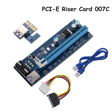 1set Blue 007c USB 3.0 PCI-E Riser Card 1X 4X 8X 16X Express Riser Card Extender With SATA Power Adapter Cable For BTC Mining(China)