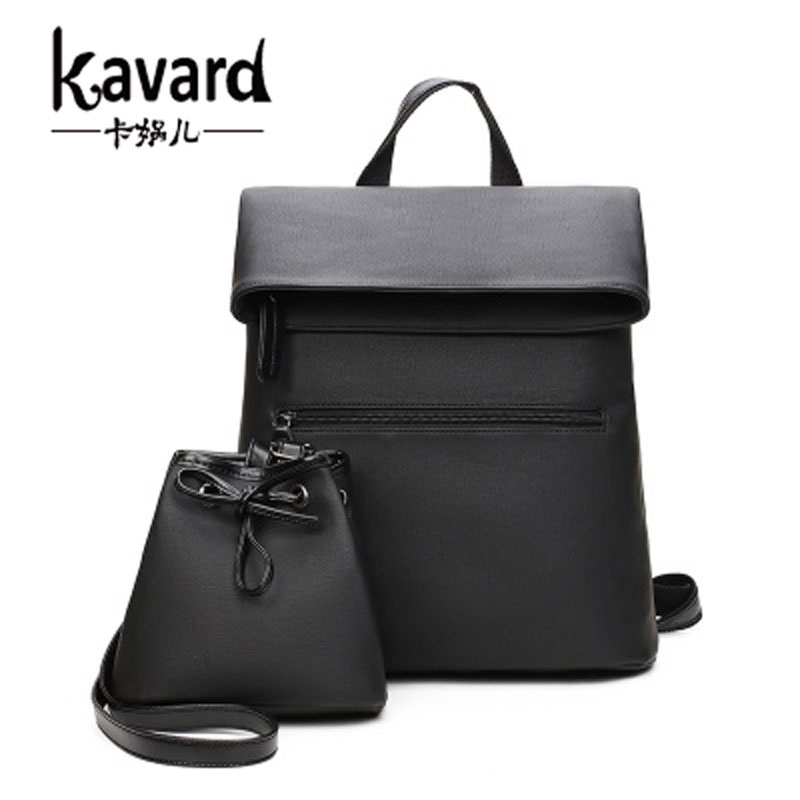 Kavard Famous Brand Backpack 2017 Women Backpacks purse cover Vintage Girl School Bags for Girls Black PU Leather Women Backpack<br><br>Aliexpress