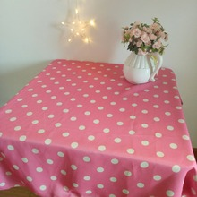 New pink table cloth white dots table cloth custom size table cloth for living room and bedroom