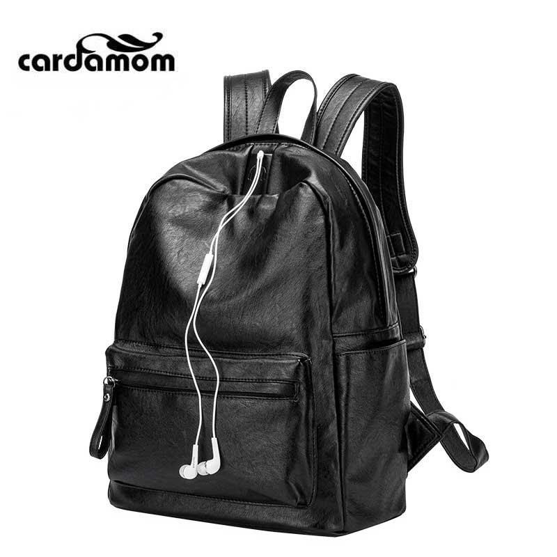 Cardamom Fashion PU Sheepskin Unisex Backpack Elliptical Shap Zipper Solid Colors High-capacity Anti Theft Women Bags<br>