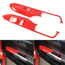 Silver Blue Red ABS Car Window Lift Button Trim Cover Frame For Ford Mustang 2015 2016 2017(China)