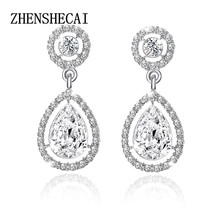 Crystal Teardrop Long Earrings Bridal Large Drop Earrings brincos for Women Fashion Wedding Jewelry boucle d'oreille e0252(China)