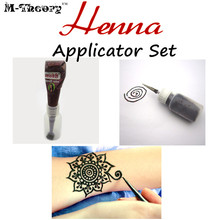 M-Theory Henna Tatoos Bottle + 4 Size Nozzles , Mehndi Applicator  Henna Tatoos Temporary Tattoos Body Paint Art Makeup Tools