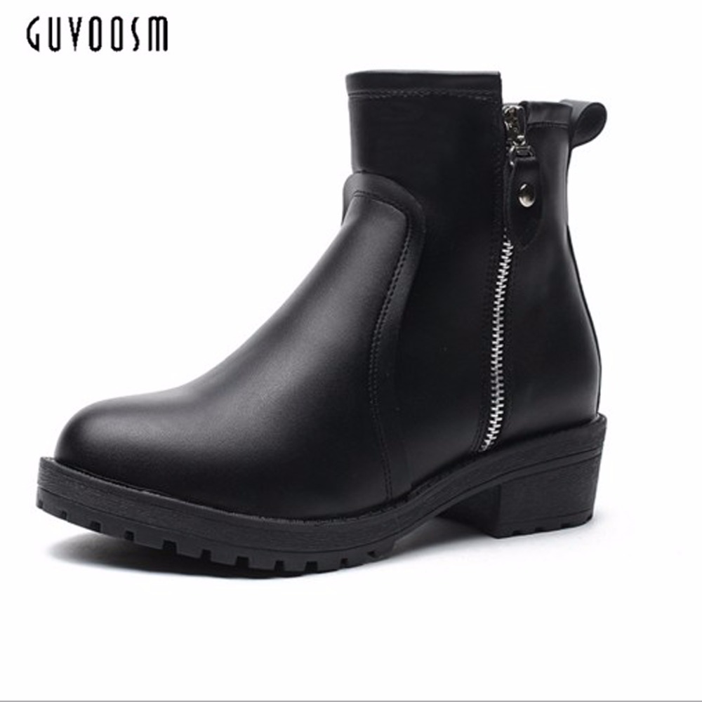 Guvoosm Winter Med Height Zip Ankle Female  Boots Black Rubber Solid Bota Feminina Shoes Women Riding  Small Super Big Size33-43<br>