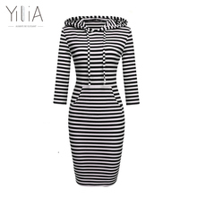 Casual Hoodies Dress Long Sweatshirt Long Sleeve Fashion Striped with Pockets Autumn Winter Wear Bodycon Pencil Dress