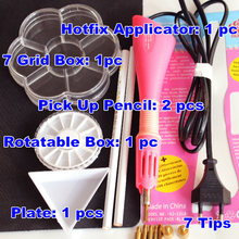 DIY TOOL SET,1pcs Hotfix Applicator 2pcs Pick Up Pencil 1 Plate 1 Box 1 Rotatable Boxes For Jewelry Strass Rhinestones B1980