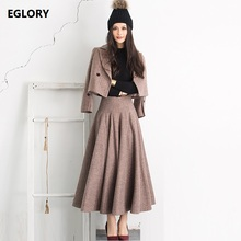High Quality Brand New 2017 Winter Coat Suits Women Vintage Striped Wool Coat Jackets+Large Swing Wool Maxi Skirt Suits Set 2pcs(China)