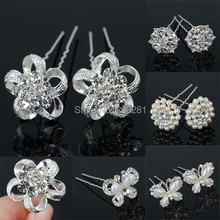12Pcs/lot Wedding Bridal Bridesmaid Pearl Flower Rhinestone Hair Pins Clips Women Crystal Rhinestone Hairpin Hairstick Hairwear(China)