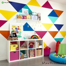 Jumbo Triangles Multicolor Wall Stickers Home Decor Living Room TV Background Wall Art Vinyl Large Wall Decals JW184
