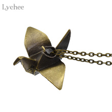 Lychee Vintage Antique Bronze Origami Crane Pendant Necklace Link Chain Retro Necklace Jewelry for Men Women(China)