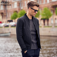 Enjeolon brand quality Bomber casual jackets coat men, black solid coats clothing Jacket clothes JK0458(China)