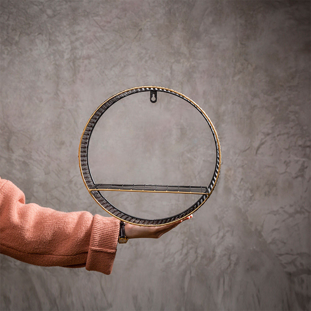 3 Sizes Retro Wall-Mounted Metal Rack Circular Mesh Iron Shelf Industrial Style Round Shelf Office Sundries Organizer Home Decor 2