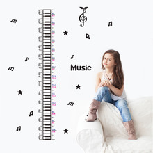 Music notes Height Measure sticker Children Wall stickers for kids rooms cartoon child height Chart wall decals home decor