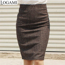 Womens Autumn Winter Knee Length Pencil Skirt Plaid Sexy OL High Waist Skirt  Ladies Slim Hip Zipper Side Skirts Saia Plus Size 41dd4cfe548d