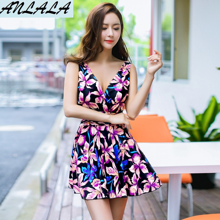 ANLALA   Female models Skirt type Flat angle The steel towers gather and hide the belly Siamese swimsuit<br>