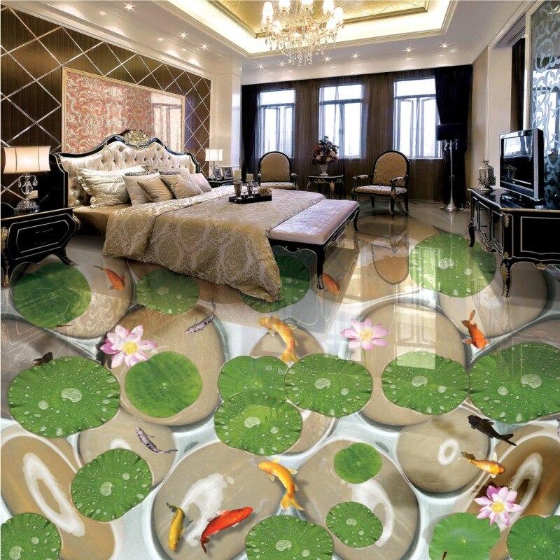 Free Shipping Beautiful lotus leaf carp pebble 3d flooring painting square street decoration self-adhesive floor mural<br>