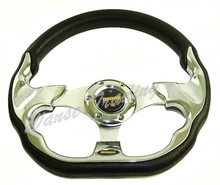 Sale Universal 320mm PU Leather Racing Sports Auto Car Steering Wheel with Horn Button 12.5 inches Chrome