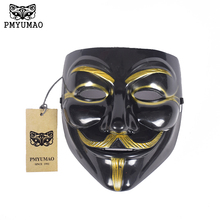 PMYUMAO V for Vendetta Mask 2017 The latest production of high quality party masks Black polished plastic mask PVC men's Masks