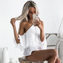 Buy Sexy Backless Blouses Halter Neck Shoulder Ruffles Shirt Ladies Loose Soild Women Tops Party Clubwear WS2006C