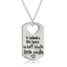 "Bespmosp New""It Takes A Big Heart To Help"" Shape Little Mind Stainless Steel Dog Tag Cut Out Heart Teacher Gift Pendant Necklace(China)"