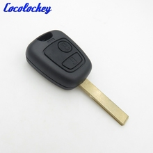 Cocolockey 2 Buttons Remote Key Shell for Peugeot 307 Car Keys Blank Key Cover Case with Groove no logo(China)