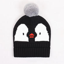 Fashion Autumn Baby Hats Cartoon black penguin Infant Girls Boys Cap wih ball Casual Baby Beanie Hats Accessories 1-3T