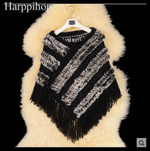 2017 Hot Sale Real Knitted Rabbit Fur Shawl Fashion Women Rabbit Fur Poncho FUR coat With tassels(China)