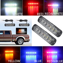 2x6 12 LED Super Bright White&Amber Warning Light Car Truck Van Side Strobe Light Red Blue Ambulance Strobe Emergency Light