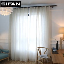 Solid Colors Elegant Modern Solid Faux Linen tulle curtains for the Bedroom Curtains for Living Room Sheer Voile Blinds Drapes(China)
