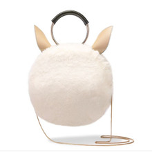 Ladies shoulder bag artificial rabbit fur mini bagwomen crossbody bag Cheap winter bag bolsas femininas O bag clutches Round bag(China)