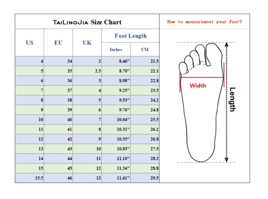 tailingjia size chart