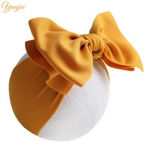 7 Inch Big Bow Headband For Girls 2019 Solid Large Hair Bows Elastic Turban Head Wraps Kids Top Knot Hairband Hair Accessories(China)