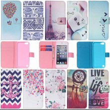 Flower&tower print for iPod Touch 6 Leather Stand Wallet Case cover For Apple ipod touch 5 6 Phone Cases with Card Holder S3d25D(China)