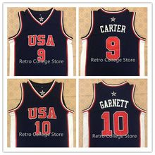 #9 Vince Carter Jersey #10 KEVIN GARNETT Team USA Basketball Jersey Vince Carter,Retro Men's Throwback Embroidery Customize any