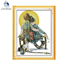 Joy sunday figure style Sweet love idea designs crafts needlework kits for embroidery thread paintings(China)