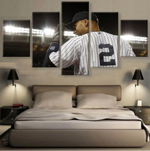 5 Panels Printed canvas DEREK JETER prints SPORTS canvas poster for living room home decor wall frame artwork