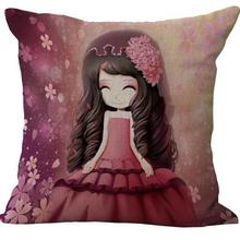 Free Shipping Customized Cute Flowers Girl Linen Cotton Decorative Pilow Home Furnishing Bedding Back Cushion Hot Gifts