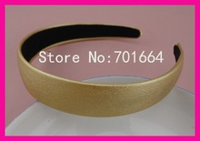 "10PCS 25mm 1.0"" Golden Imitation Leather Covered Plain Plastic Hair Headbands with black velvet back,BARGAIN for BULK"