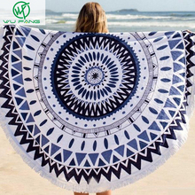 2016 Summer favors Large Plush Wrap skirt Printed Round Beach Towels With Tassel Circle Beach Towel Serviette De Plage shawls