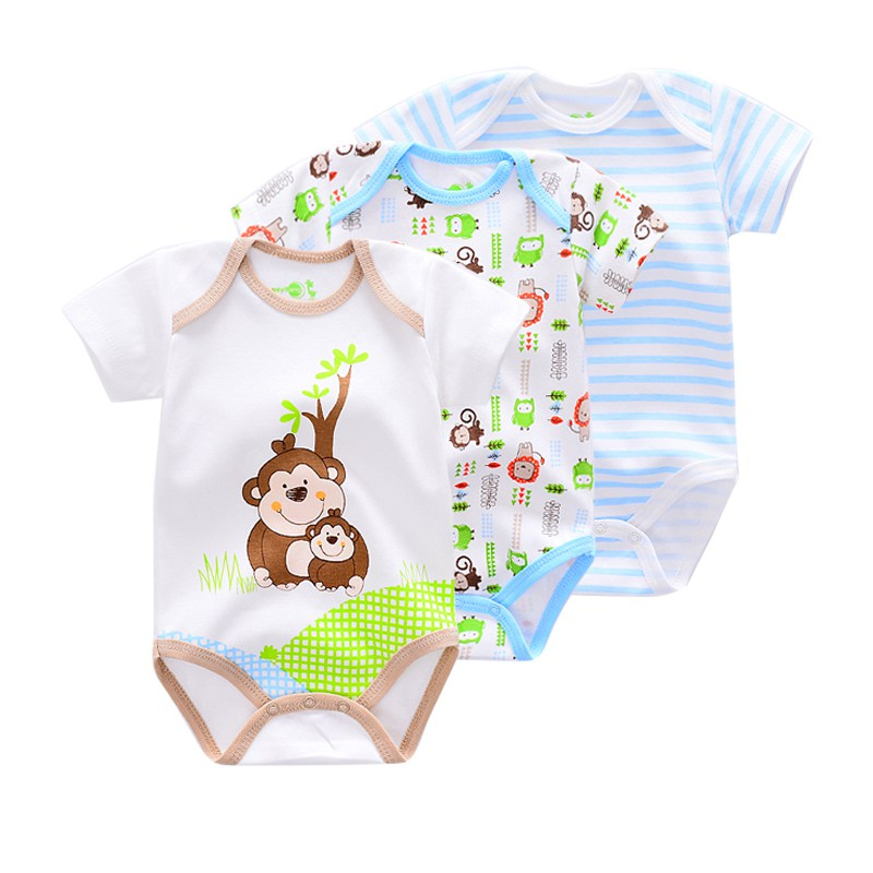 3 Pieces/lot New Summer Baby Boys Bodysuit Animal style Short Sleeve infant Bodysui Jumpsuit cotton Baby Overall Newborn Clothes(China)