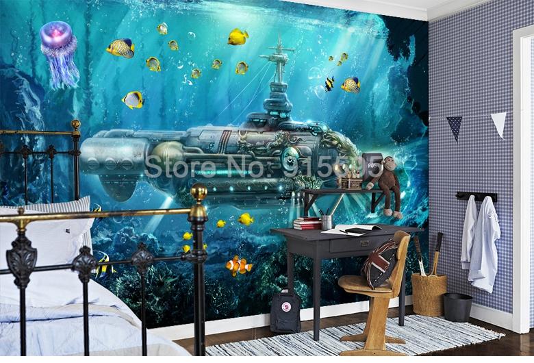 HTB1EBwpiAfb uJjSsrbq6z6bVXaX - 3D Submarine Underwater World Wall Decor-Free Shipping