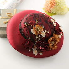 2016 European Style Korean Wine Red Linen Fabric Flower Wedding Lace Fascinator Hat 30CM  Vintage Hat Dress Hair Accessories