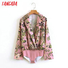 Tangada Korea Fashion Long Sleeve Sexy Pink Bodysuit For Women Body Suit Floral Ladies Female Jumpsuit Romper Playsuit 5L01(China)
