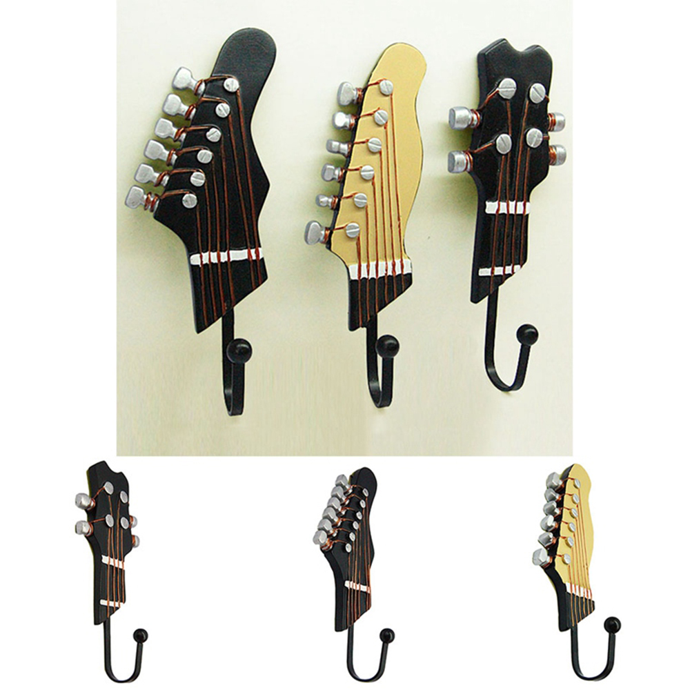 Retro Guitar Heads Resin-made Wall Hook for Storage