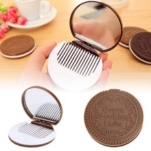 1PC ABS Chocolate Sandwich Cookie Shaped Portable Touch Up Mirror With Comb Makeup Mirrors