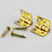 20pcs J041b Micro Brass Hinges with Nail Make Small Wooden Box Toys DIY Parts Free Shipping France Spain