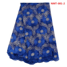 (5yards/lot)Royal blue Lace Material big Design African Party Dress Lace Tulle Fabric For Evening Dress Long Skirt June-08-2017