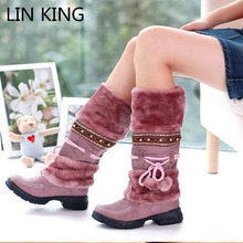 LIN KING New Fashion Fur Autumn Winter Snow Boots Women Warm Flock Lady Boots Casual Tassel Platform Over The Knee Snow Shoes