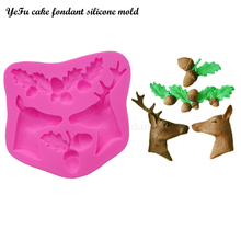 YeFu cake fondant silicone mold 3D Christmas Elk Deer Acorn leaves Soap Moulds Cake Decorating Tools T0813