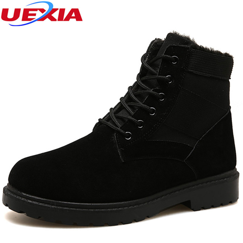 UEXIA Snow Boots Men Military Winter Desert Shoes Leather Plush Black Outdoor Botas Warm Men Shoes Winter Motorcycle Thick fur